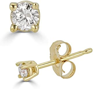 14K White, Rose & Yellow Gold Round Diamond Stud Earrings for Women (0.30 cttw and up IGL Certified)