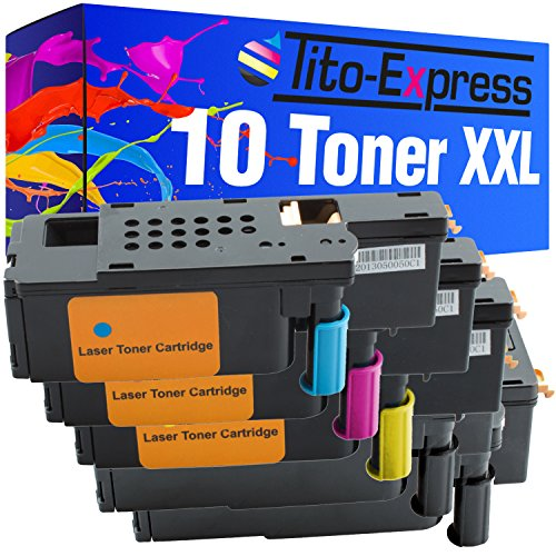 Tito-Express Platinum Serie 10 Cartuchos de tóner XXL compatibles con DELL 1250 1250C 1350 CNW 1350CNW 1355 CN 1355CN 1355CNW C-1760 C-1760NW C-1765 C-1765NF C-1765NFW