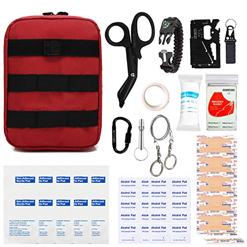 GRULLIN First Aid Survival Kit, Tactical Molle IFAK Pouch Outdoor Emergency kit Home Office Car Randonnée Chasse Camping Adventure (Rouge)
