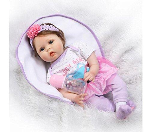 "NPK Reborn Baby Dolls Girls Silicone Vinyl 22"" Realistic Handmade Weighted Body Eyes Open Lovely Lifelike Cute Reborn Babies Gift Set for Girls 3+"