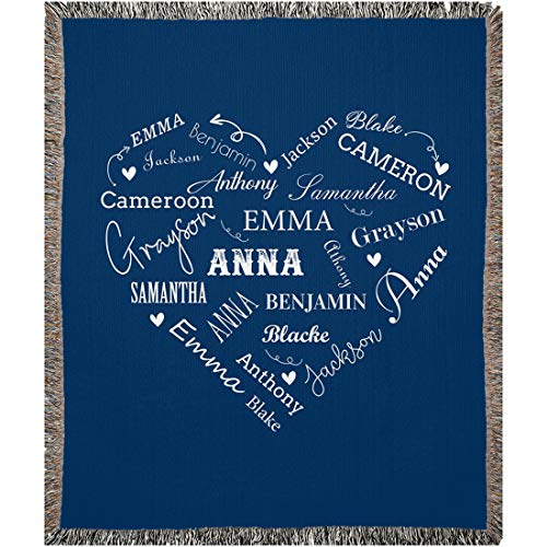 """Personalized Name Blankets for Baby, Kids and Adults, Mom, Grandma. Custom Name Blanket from Your Names. Close to Heart Customized Throw. Gift for Mothers Day, Christmas (Navy, Woven 50"""" x 60"""")"""
