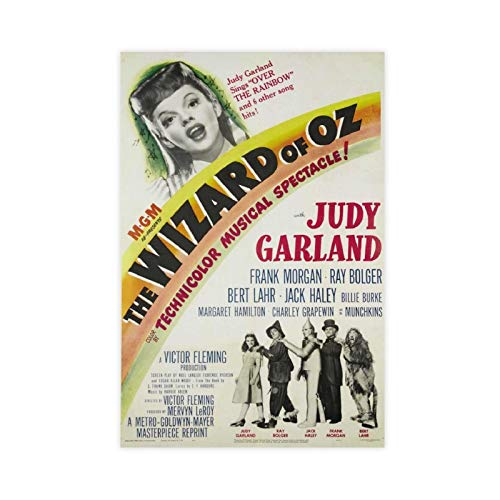 The Wizard Of OZ Judy Garland Classic Vintage 80s Movie Film Poster Canvas Poster Wall Art Decor Print Picture Paintings for Living Room Bedroom Decoration 12×18inch(30×45cm) Unframe-style1