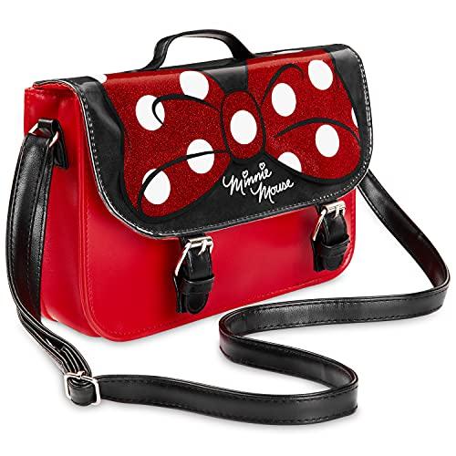 Disney Bolso Niña, Bolso Bandolera con Lazo de Minnie Mouse, Bolsos Para Niñas Con Detalles de Brillantina, Regalos Para Niñas y Adolescentes