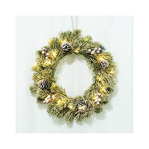 Bospyaf Christmas Flocking Pine Needle Garland White Pine Needle Iron Ring Door Hanging Decoration,with Light,40cm