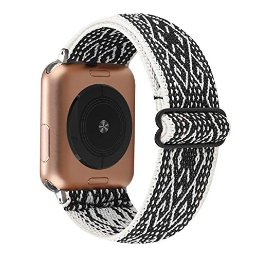 Adjustable Elastic Watch Band Compatible with Apple Watch 38mm 40mm, Nylon Stretchy Solo Loop Bracelet Women Replacement for iWatch Series 6/5/4/3/2/1 (Black White Rhombus, 38mm/40mm)