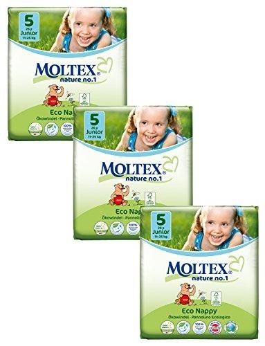 3 Packs of Moltex Nature No.1 Nappies Junior (Size 5) by Moltex Nature No.1