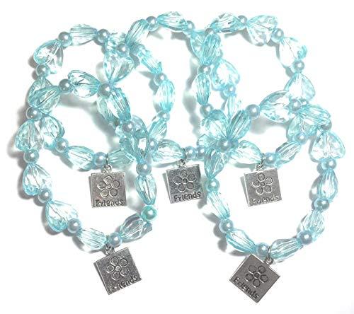 FizzyButton Geschenken Set van 5 Turquoise Elastische Beaded Vrienden Armbanden voor Jongere Meisjes Verjaardag Party Tassen