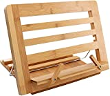 Bamboo Book Stand, Adjustable Reading Cookbook Holder Tray with Page Paper Clips, Foldable Tablet, Phone Stands for Office, Kitchen, Home- Pezin & Hulin