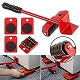 Kit de desplazamiento pesado sin esfuerzo, mueble con ruedas, kit de palanca y carro de muebles, 1 barra de elevación y 4 ruedas de desplazamiento, hasta 300 kg