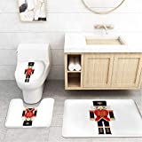 Bathroom Toilet Mats Lid Sets Rugs 3-Piece,Cartoon Comics Nutcracker British Soldier Costume Specific Strangely Robust Burly Protection Home Country Unification Careful Selection Outstanding Animation
