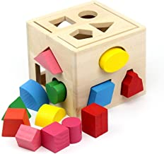 Wooden Block Puzzle Activity Toys - Wooden Shape Classifiers Learn To Develop Toy Gifts For Boys And Girls A Small Number Of Educational Toys (Color : Multi-colored, Size : Free size) Soul hill