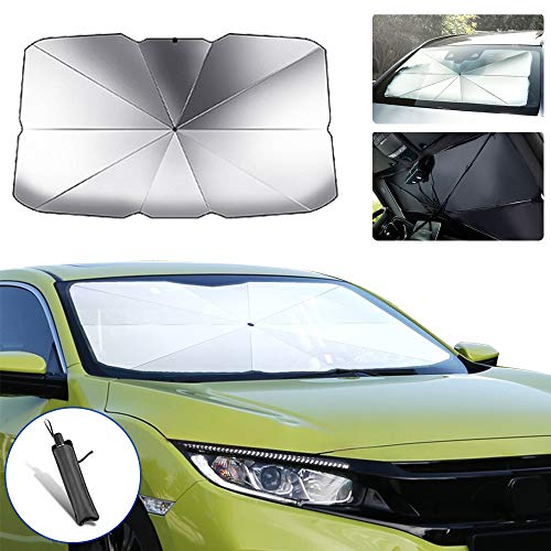 saitake Car Windshield Parasol Sun Shade for Toyota Highlander Sun UV Protection Lightweight and Portable Umbrella Type 145cm79cm