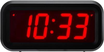 Timegyro Kleiner LED-Digitalwecker mit großem Display Tischuhr mit Tischuhr (Schwarz)