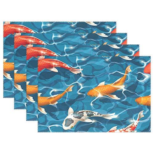 REFFW Azul Marino Antideslizante Fosh Koi Carpa Patrón 1PC Cocina Resistente al Calor Manteles Individuales para el hogar para Mesa de Comedor Manteles