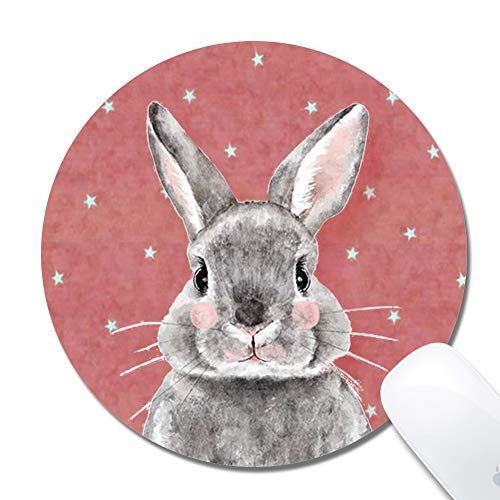 ZYCCW Customized Grey Bunny Cloth Surface Natural Rubber Gaming Office Mouse Pad- Round 200x3mm Mouse pad (7.9x7.9x0.12 inch)