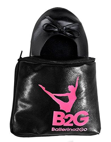 Ballerina2Go Faltbare Ballerinas Schuhe Satintasche - rollbare Wechselschuhe Afterparty Flache Schuhe guenstig zum mitnehmen Schuhe zum Falten Slipper Flats (42, Schwarz)