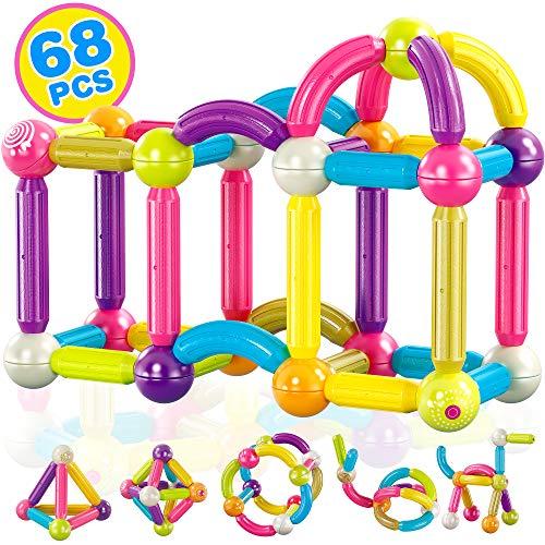 Contixo ST2 Kids Magnetic Stix Stick 68 PCs 3D Building Blocks STEM Construction Playboards...