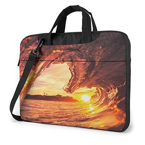 15.6 inch Laptop Shoulder Briefcase Messenger Sunset Dusk Waves Tablet Bussiness Carrying Handbag Case Sleeve