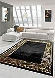 Teppich-Traum Alfombra Sala de Estar con Borde clásico en Oro Negro Größe 80 x 300 cm