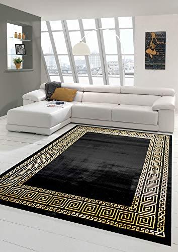 Teppich Wohnzimmer mit klassischer Bordüre in schwarz Gold Größe 80x150 cm