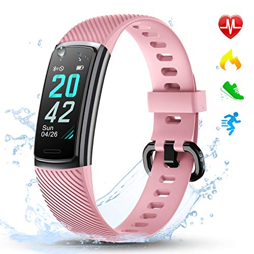 LETSCOM Fitness Tracker HR, Activity Tracker Watch with Heart Rate Monitor, Step and Calorie Counter, Screen IP68 Waterproof Pedometer Watch for Kids Women and Men (Pink)