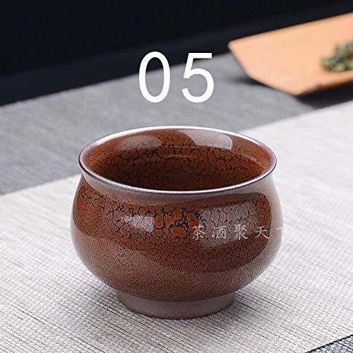 Taza maestra de cerámica Taza Doudou Taza de té Licor blanco construido Copa de vino de licor blanco Copa de vino de licor amarillo vintage Taza de licor para el hogar Tapa de té glaseado con óxido