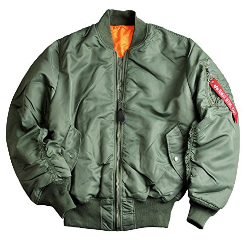 ALPHA INDUSTRIES Bomber-Kult-Wende-Jacke MA-1 aus Flight-Nylon original schwarz sage-Green Innen-Futter-orange Starke Strickbündchen Aussen-Innen-Taschen original, Farbe:sage Green;Größe:S