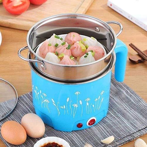 Multifonction Poêle Électrique En Acier Inoxydable Hot Pot Nouilles Cuiseur De Riz À La Vapeur À Soupe À La Vaisselle (Couleur : Bleu, taille : B)