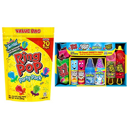 Bazooka Candy Brands Lollipop Suckers 18 Count Variety Box + Ring Pop 20 Count Party Pack – Assorted Flavors