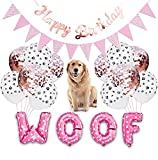 Kalimdor Dog Birthday Party Supplies Dog Paw Print Balloons Cat Birthday Hat Happy Birthday Decor Banner Foil Balloons Woof Letters Balloons Decorations Bandana (Pink - Woof)