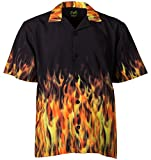 Benny's Red Flames Bowling Shirt S