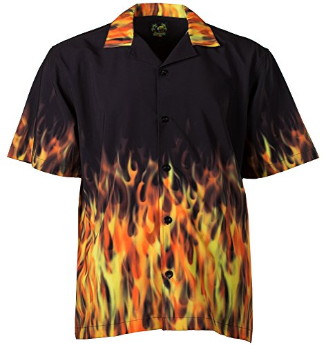 Benny's Red Flames Bowling Shirt L