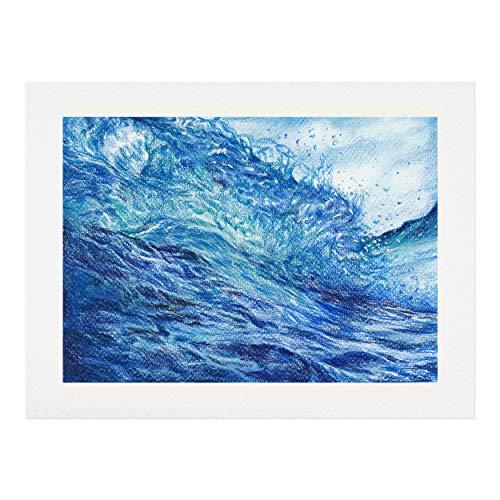 Society6 Anna Shell Blue Wave Kunstdruck, Baumwollfaser-Papier, blau, 18