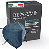 20 Mascarillas FFP2/KN95 Colores Negras Homologadas Certificación CE de 5 Capas, Máscara Protectora, Mascarilla de Protección Personal con Filtros de Calidad BFE≥95, 20 Piezas - Made in Italy