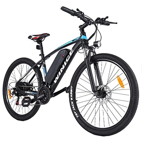 Wince bici elettrica e-bike uomo donna, e-bike mountain bike da 27,5 pollici con motore 350W / batteria al litio rimovibile 36V 10,4AH / leva del cambio Shimano a 21 velocità, 32 km/h a piena velocità
