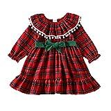 Vestido de Navidad de una pieza para bebé, niña, de manga larga, a cuadros, para Navidad, baile de graduación, para otoño e invierno, rojo, 0-3 Meses
