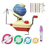 Avvolgitori per palline, filato per maglieria a uncinetto Avvolgitore per lana a sfera, 1 avvolgitore per palline in filato + 4P Pompon Maker + 10PS per punto maglia + 10PS aghi + 1PS forbici (26a)
