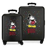 Disney Have a good day Mickey Juego de maletas Negro 55/68 cms Rígida ABS Cierre combinación 104L 4 Ruedas dobles Equipaje de Mano