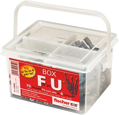 Fischer Kit For You Box, 70 Dübel FU mit Schraube für Vollwände, Gipskarton und Platten, 536688