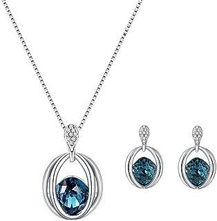 Stockton Necklace Earrings Diamond Crystal Elegant Women Jewellery Set of Crystal Pendant Necklace+Earrings