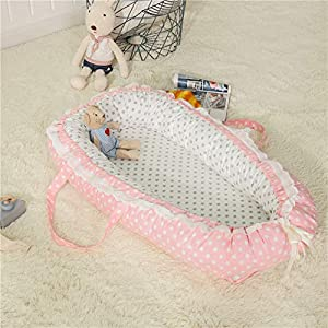 Fhbabyhome Baby Crib  Baby cot  Baby Bed  Baby cot Bedding Set  Baby Bed can dismantled  Washed and Folded  Portable Cotton 10cm Three-Piece Suite Star-Pink