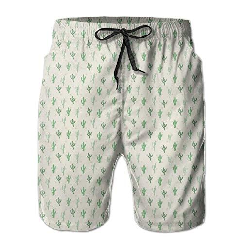 WANGKG Men's Big and Tall Swim Trunks Beachwear Drawstring Summer Holiday,Cute Saguaro Figures Desert Nature Kids Leaf Wilderness Hipster Vintage,3D Print Shorts Pants,XL