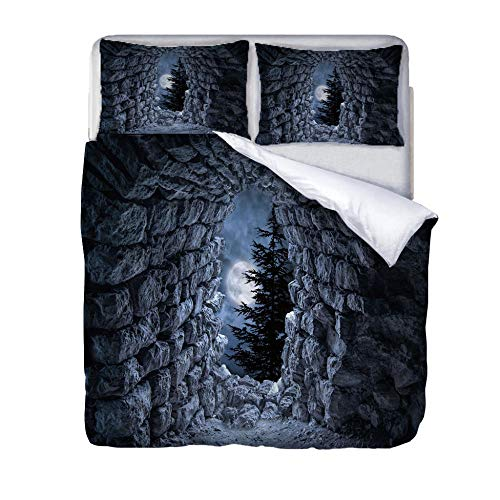 Single duvet covers set Cave Quilt Cover Set with Zipper 100% Polyester with 2 Envelope Closure Pillowcases 50x75cm for Children adults woman 140x200cm