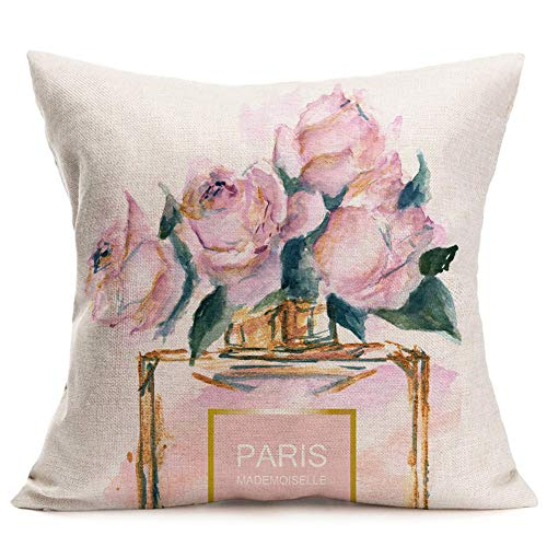 ShareJ Throw Pillow Cover French Perfume Floral Hand Drawn Watercolor Trend Aroma Design Square 18'×18' Pillowcase for Home Decor Cotton Linen Cushion Case
