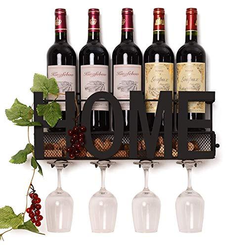 JSIHENA Estante de Vino Colgante Pared Decoración, Estante de Metal para Vino Montado en la Pared 4 de Soporte, Corcho de Vino Almacenamiento, Decoración de Cocina de Sala de Estar Familiar,Negro