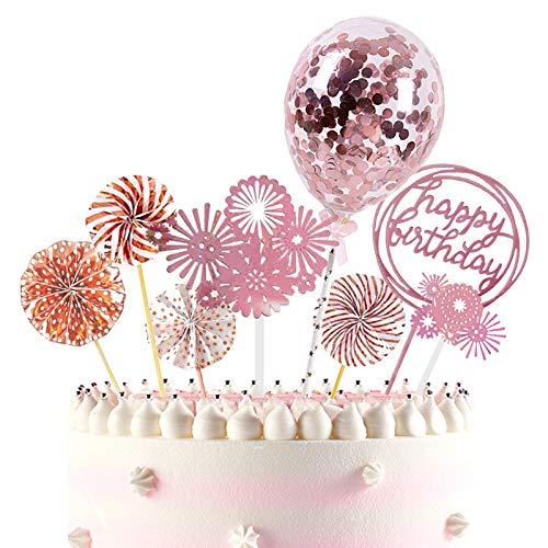 ETHEL Oro Topper Happy Birthday Topper Topper per Torte Compleanno Decorazione Torta di Compleanno per Matrimonio Compleanno Baby Shower Party Decorazioni (Oro Rosa)