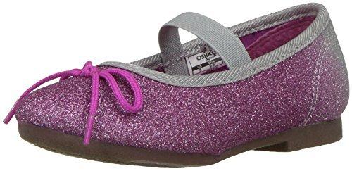 Oshkosh B'Gosh Girls' Gwen Ballet Flat, Silver/Purple, 6 M US Toddler