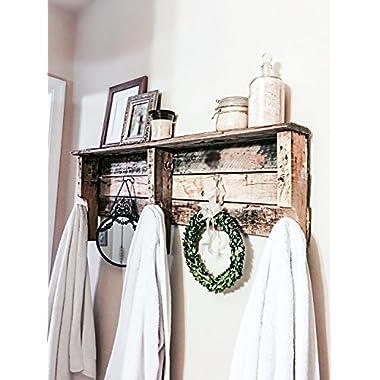 Reclaimed Wood Five Hook Shelf Towel Coat Rack