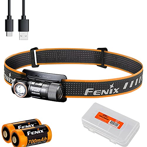 Fenix HM50R v2.0 Headlamp Bundle with Extra Backup Battery, 700 Lumen USB-C Rechargeable Lightweight with Red Light and Lumentac Battery Organizer