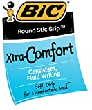 BIC Round Stic Grip Xtra Comfort Ballpoint Pen, Medium Point (1.2mm), Blue, 8-Count